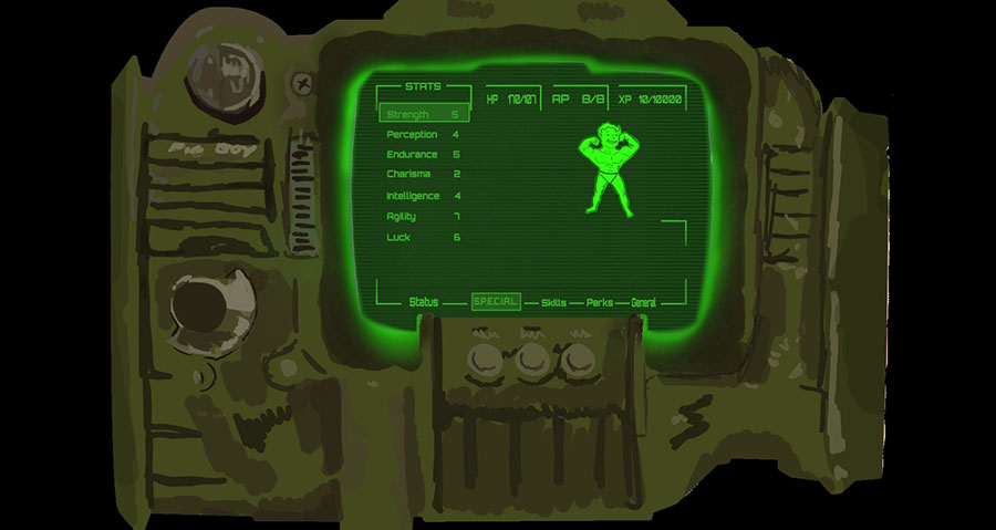 Motion Graphic basado en el diseño del Pip-Boy 3000 de Fallout